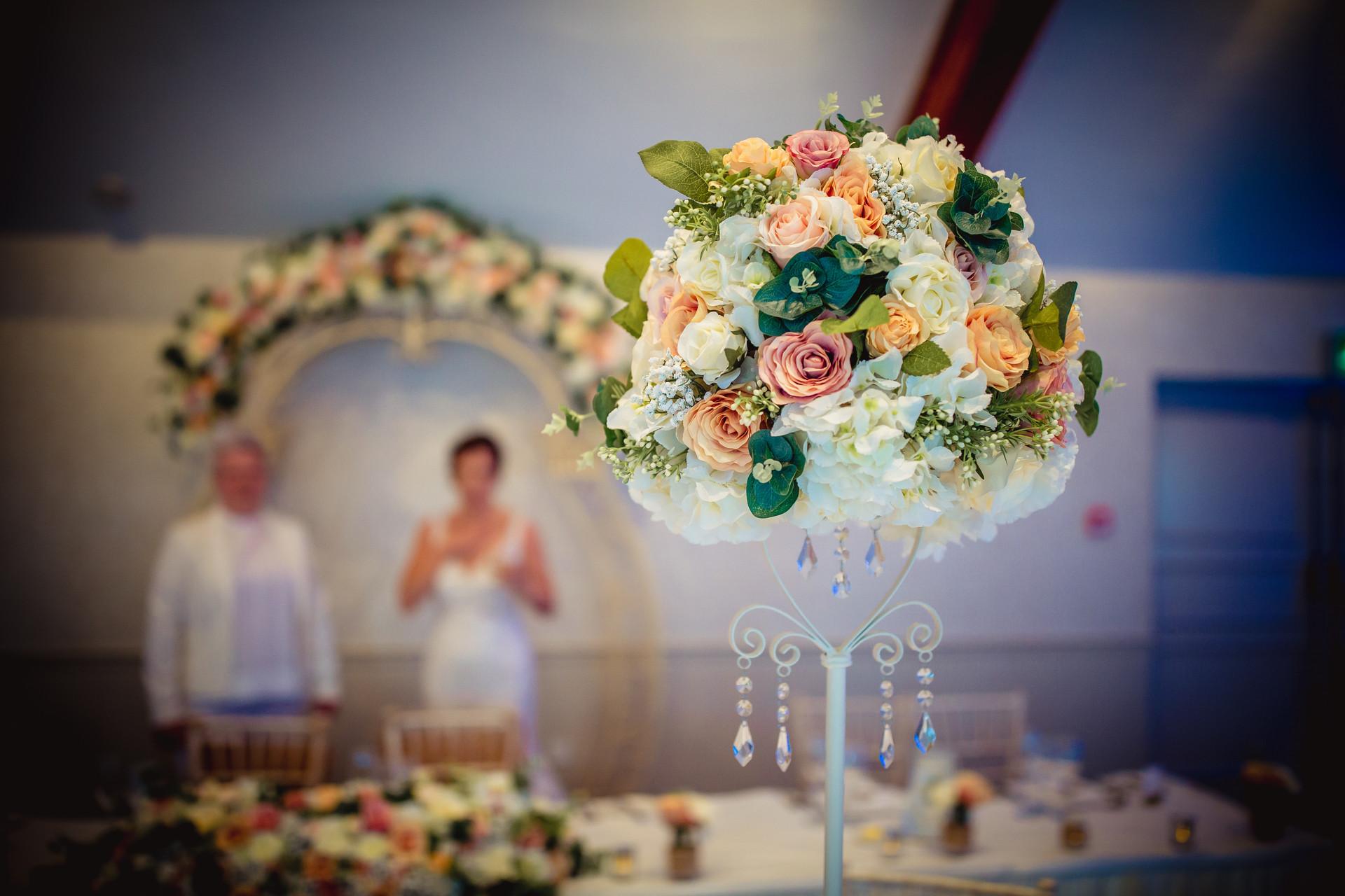 flower at Coed Y Mwstwr wedding
