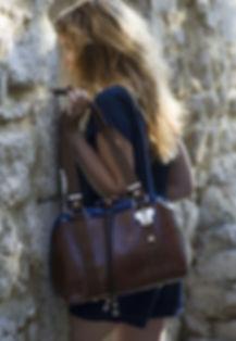 Sac cuir marron style Provence
