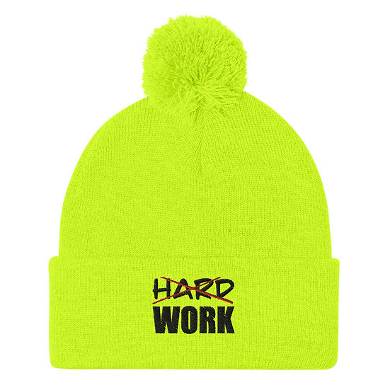 Work smart not hard Pom-Pom Beanie