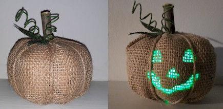 Light Up Burlap Pumpkin