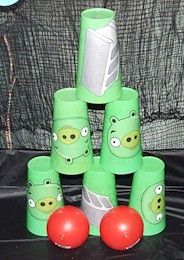 Knock Down Angry Bird Cups