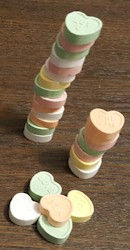 Stacking Conversation Hearts Game