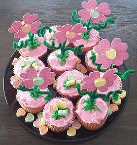 Conversation Heart Flower Cupcakes