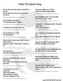 Name the Queen Song Printable