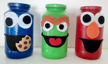 Cookie Monster Oscar the Grouch Elmo Jars