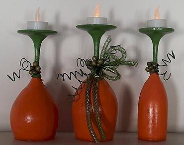 Pumpkin Candle Holders Wine Glasses