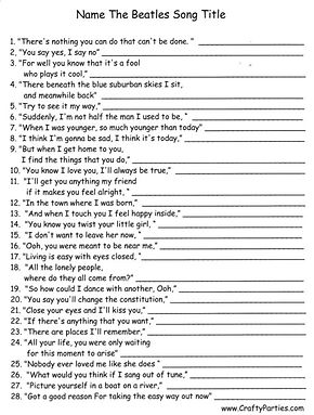 Name The Beatles Song Titles Printable Game