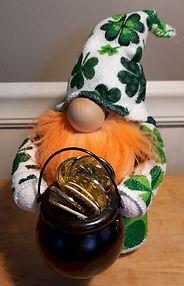 St Patricks Gnome Shamrocks Gold Pot