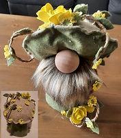 Mushroom Cap Gnome with Yellow Roses