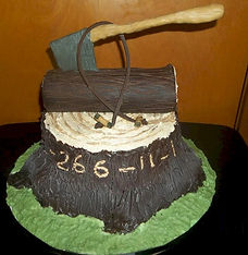 Chopping Wood Campfire Cake