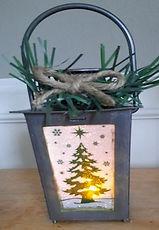 Dollar Tree Pine Tree Lantern Makeover