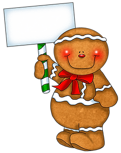 Gingerbread Man Clipart with Sign