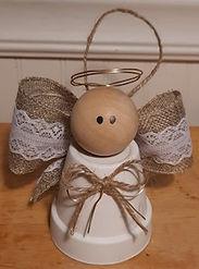 Clay Pot Angel Ornament