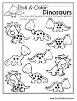 Roll and Color Dinosaurs