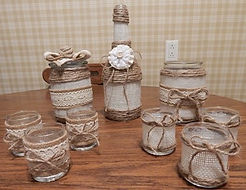 Burlap and Jute Covered Glass Containers