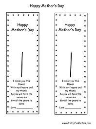 Mother's Day Fingerprint Bookmark Printable