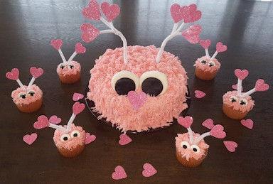 Love Bug Cake and Cupcakes