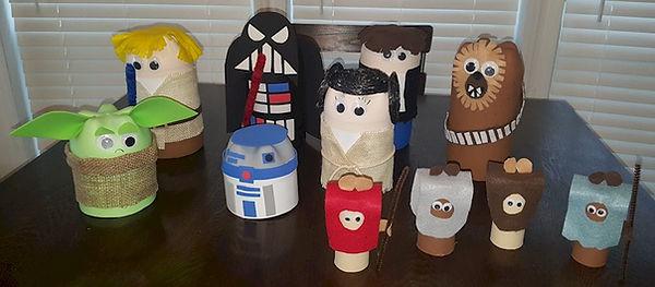 Star Wars Pop Bottle Crafts, Darth Vader, Luke Skywalker, Yoda,R2D2, Princess Leia, Han Solo, Chewbacca and Ewoks