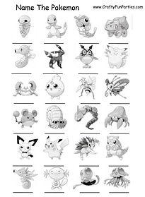 Name The Pokeman Printable Game