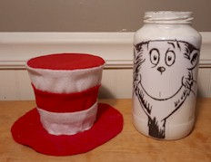 Cat In The Hat Glass Jar Lid Off