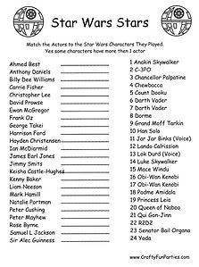 Star Wars Stars Match the Actor to the Character Printable Game