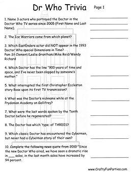 Dr Who Printable Trivia 01