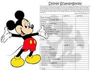 Disney Scattergories Printable