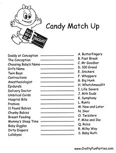 Candy Match Up Printable Game