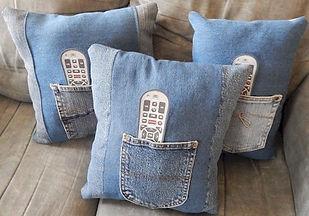 Remote Holder Old Denim Jeans Pillows
