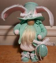 Aqua Lace Easter Bunny Gnome