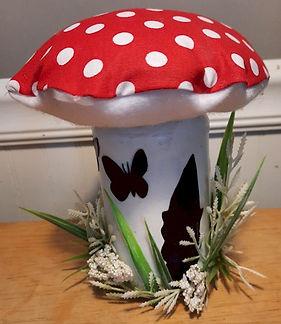 Mushroom Cap Silhoutte Gnome Jar