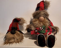 Rustic Plaid Gnome with Dog