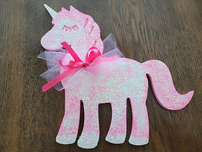 Pink and White Unicorn Plaque with Glitter