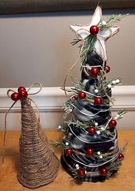 Fabric Christmas Tree Decorated Twine Tree