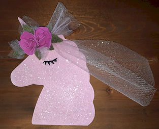 Pink Unicorn Plaque With Roses