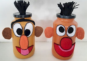 Bert and Ernie Glass Jars