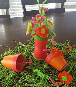 Neon Clay Pots Daisies Chameleons
