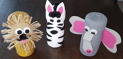 Creamer Container Animals Lion Zebra Elephant