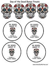day of the Dead Bone Treats Printable