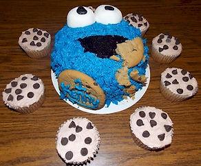 Cookie Monster Smash Cake Chocolate Chip Cupcakes