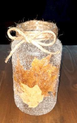 Glass Jar Leaf Candle Holder