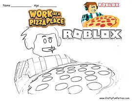 RoBlox Work At A Pizza Place Coloring Page