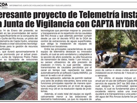 Prensa: Diario El Ancoa por Piloto de Telemetría Capta CFT