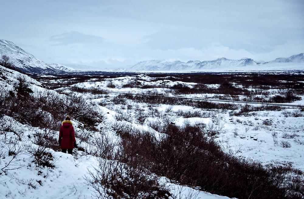A woman stares across a snowy landscape