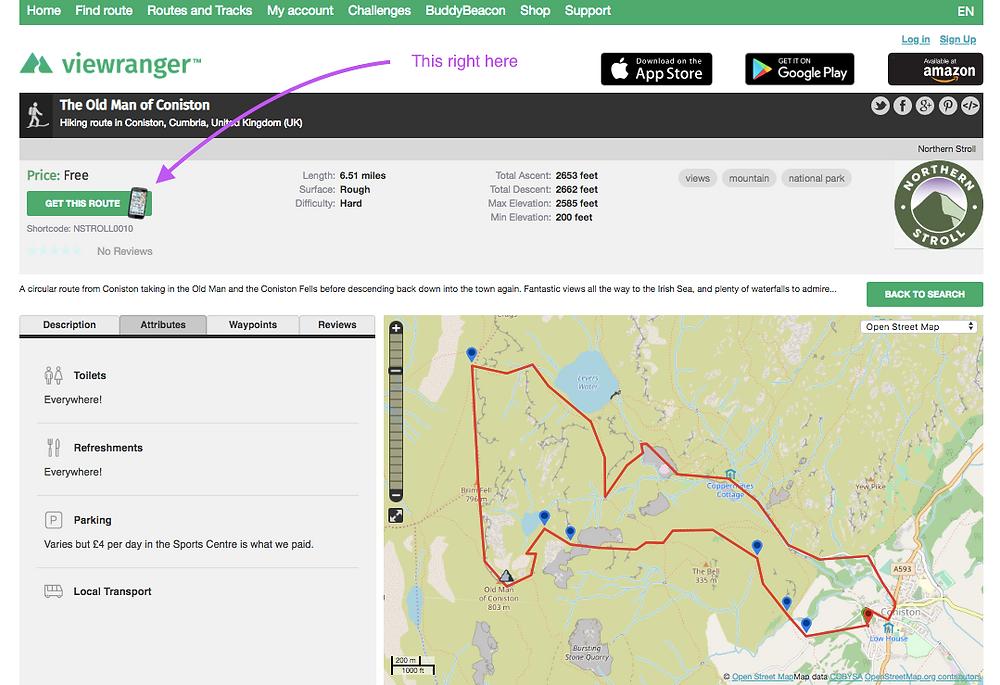 Viewranger map screenshot