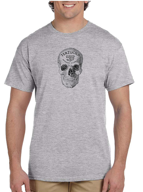 Gray Tee with Black Skull on Front