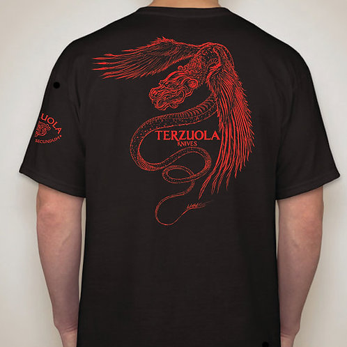 Black Tee with  Red Dragon on Back of shirt