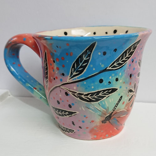 MUG - DRAGONFLY & LEAVES   (023)