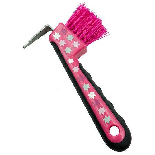 Pink Stars Hoof Pick with Brush