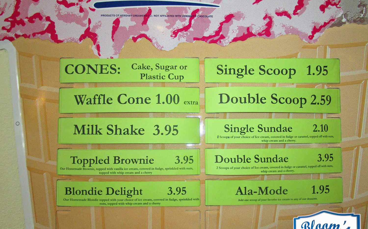 Ice Cream Menu at Bloom's Baking House